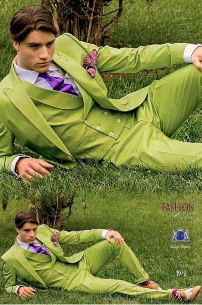 Traje de novio italiano a medida verde de algodón