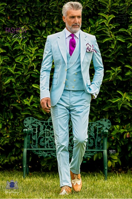 Italian bespoke pure cotton light blue suit