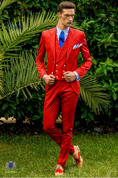 Traje de novio italiano a medida rojo de algodón