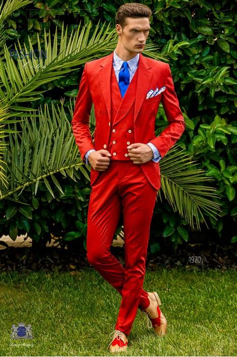 Italian bespoke wedding suit pure cotton red