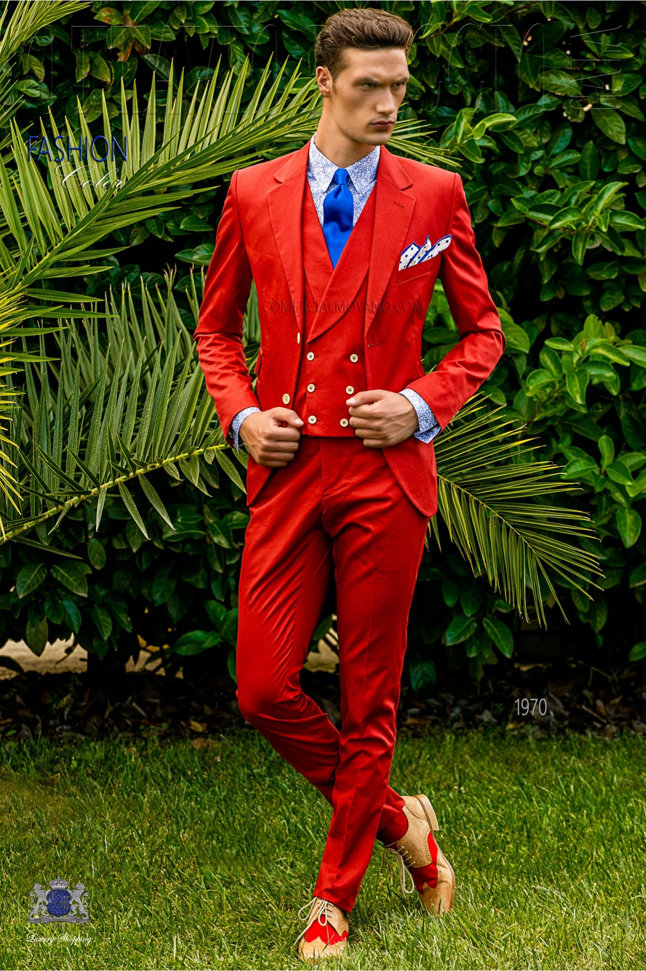 Italian bespoke wedding suit pure cotton red