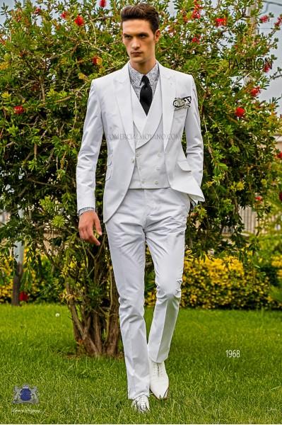 Traje de novio italiano a medida blanco de algodón