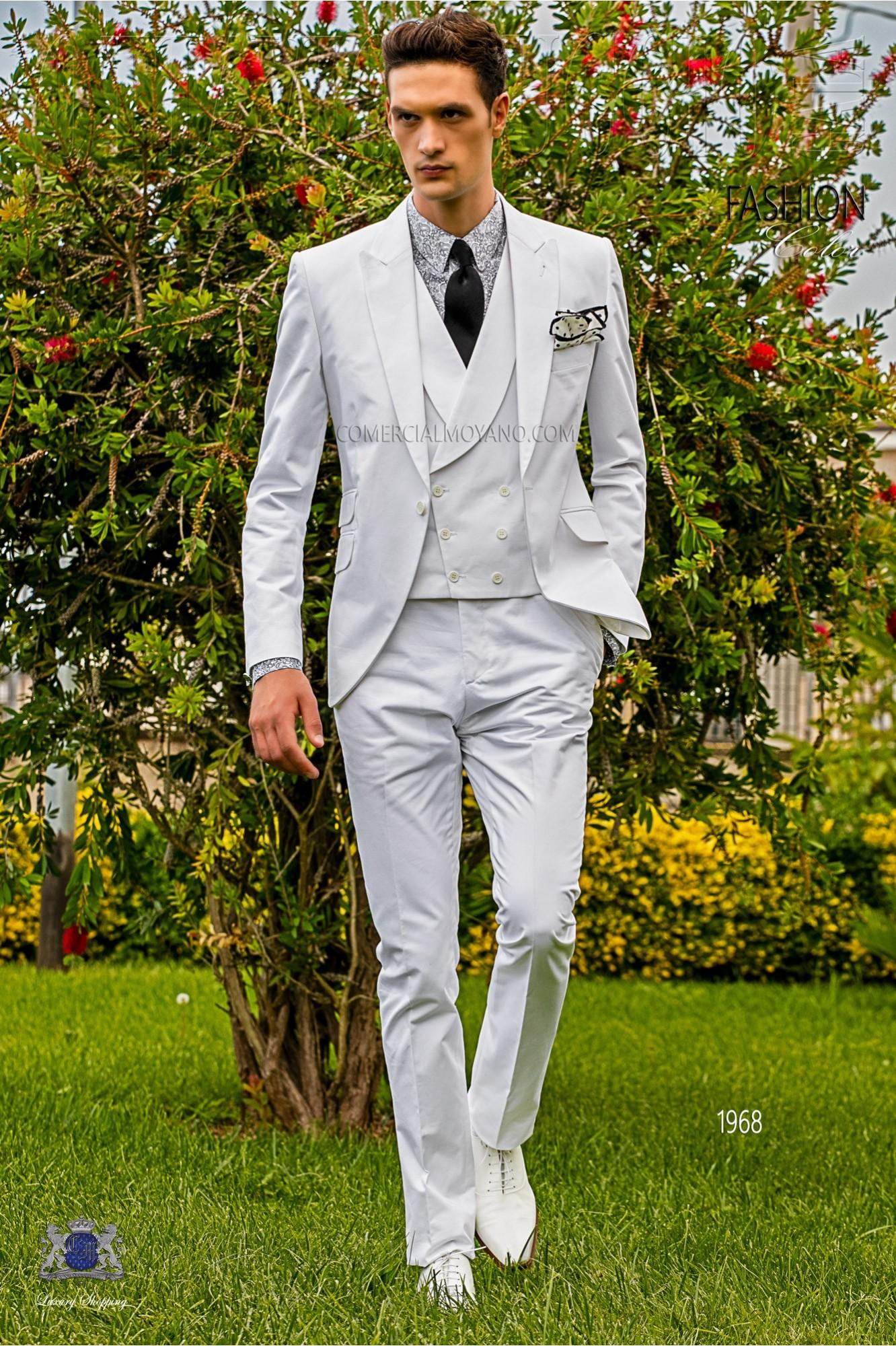 Traje de novio italiano a medida blanco de algodón modelo: 1968 Ottavio Nuccio Gala colección Hipster 2017