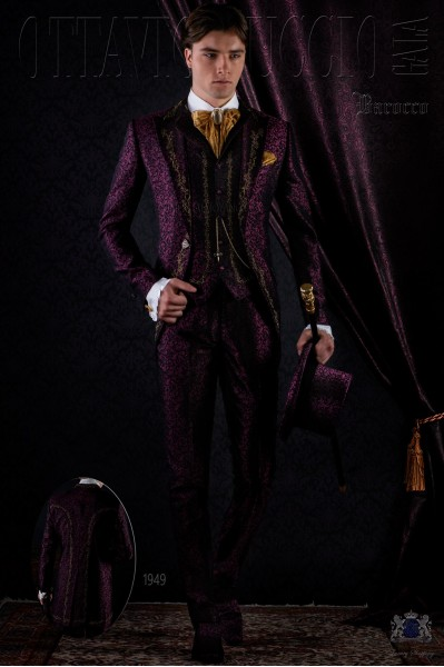 Traje de novio de época brocado púrpura bordado oro