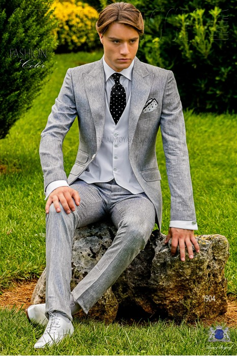 Bespoke stitched pearl grey metalized linen suit