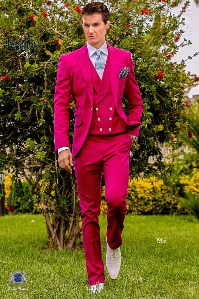 Italian fuchsia pure cotton piqué wedding suit