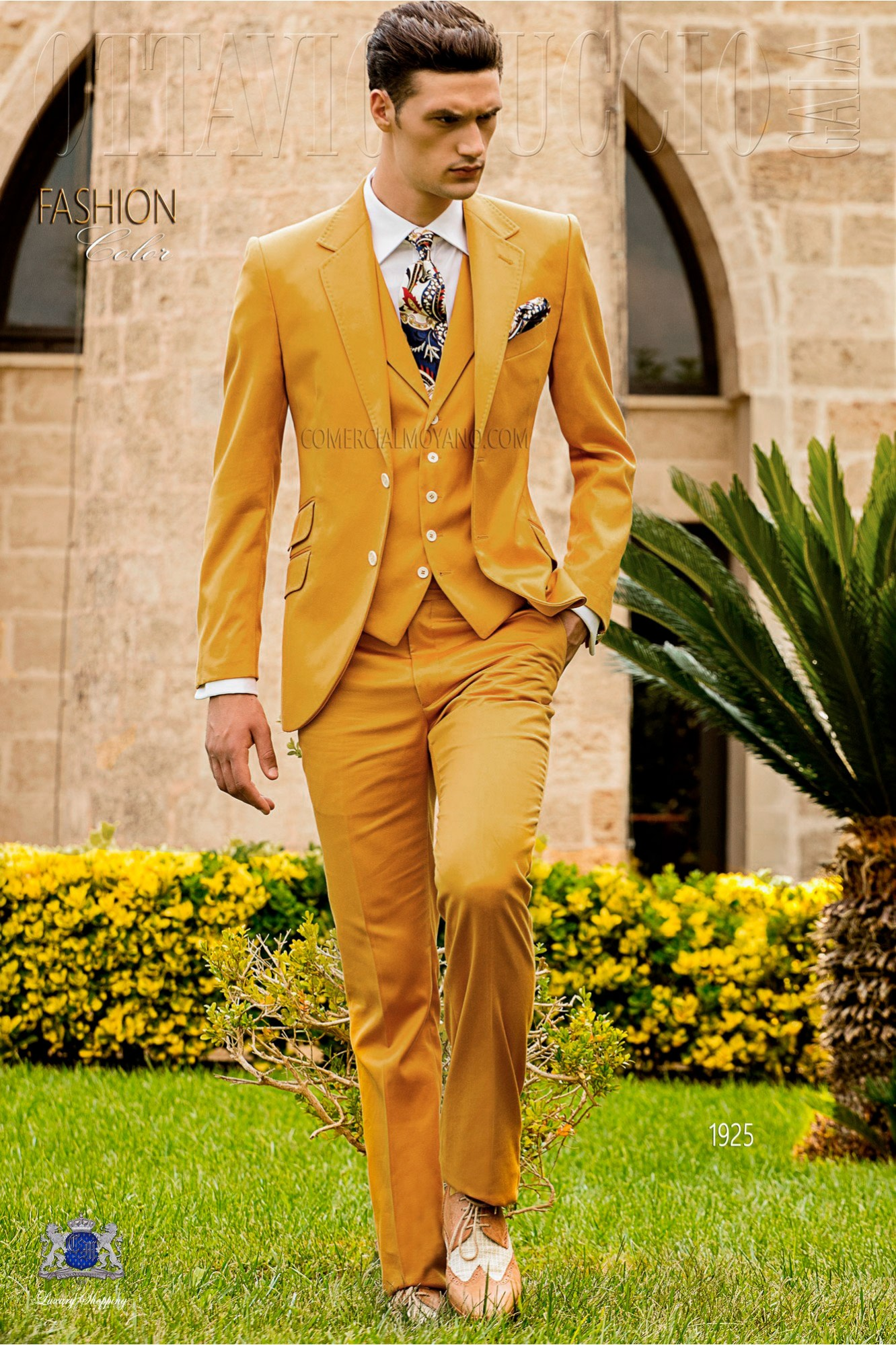 Italian stitched bespoke pure cotton yellow suit model 1925 Ottavio Nuccio Gala