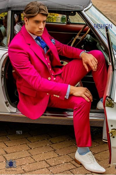 Italian fuchsia pure cotton piqué suit and waistcoat