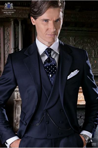 Italienisch marineblau Anzug aus Serge Wolle Stoff