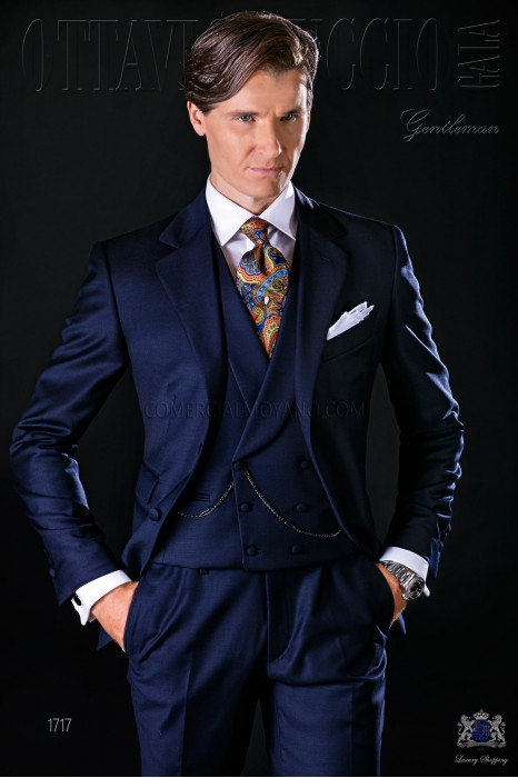 Italian bespoke suit navy blue pure wool serge