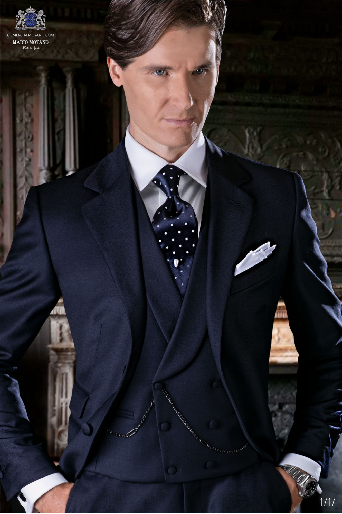 Italian bespoke suit navy blue pure wool serge