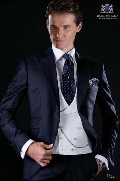 Marineblau Herren Anzug aus Serge Wolle Stoff