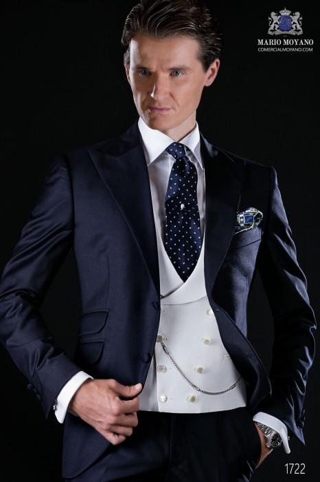 sale retailer 4ebc5 8dd03 Marineblau Herren Anzug aus Serge Wolle Stoff