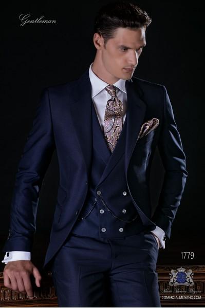 Costume homme bleu marine laine mélangé mohair alpaga