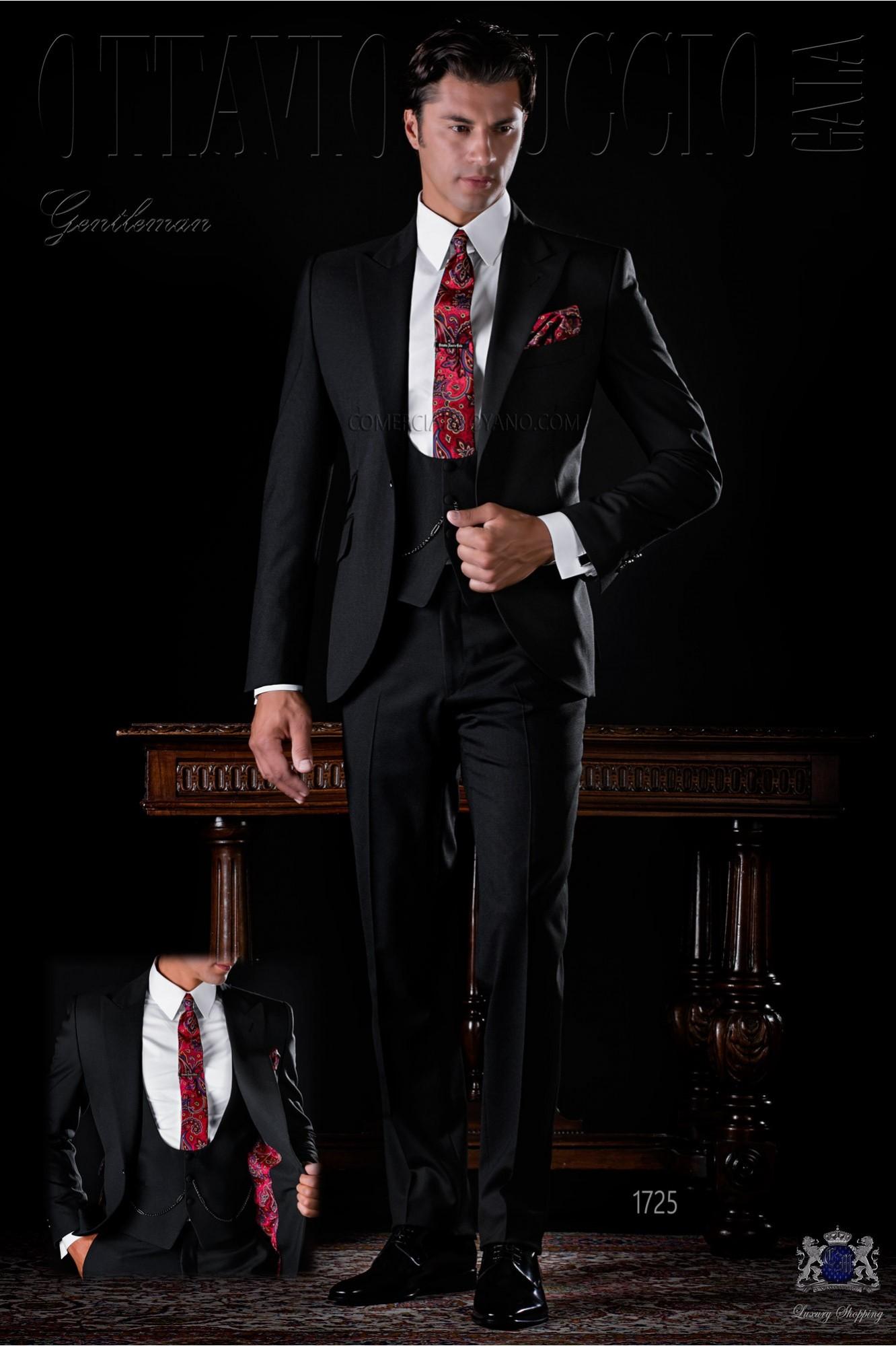 Italian bespoke black suit wool mix model 1725 Ottavio Nuccio Gala