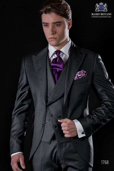 Italian bespoke suit anthracite grey fil a fil wool mix
