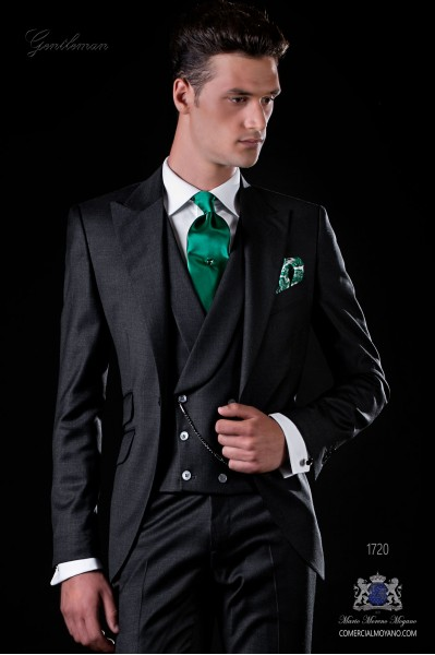 Italian bespoke anthracite gray serge wool suit