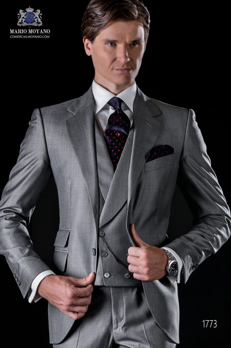 Italian bespoke light grey suit fil a fil wool silk