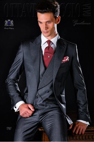 Italian bespoke suit blue fil a fil wool mix
