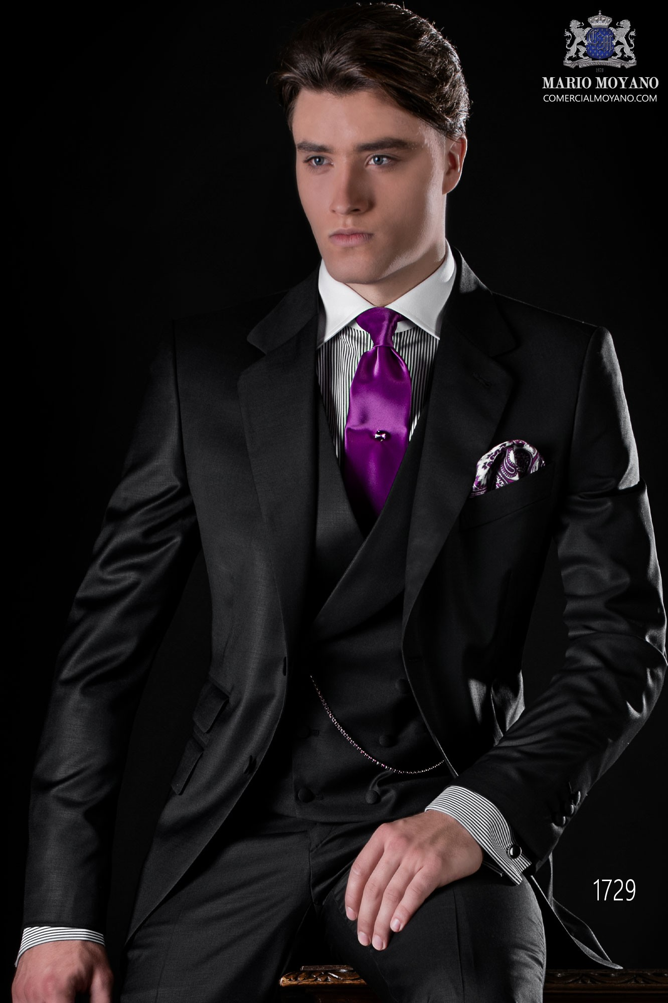 Italian bespoke black cool wool suit