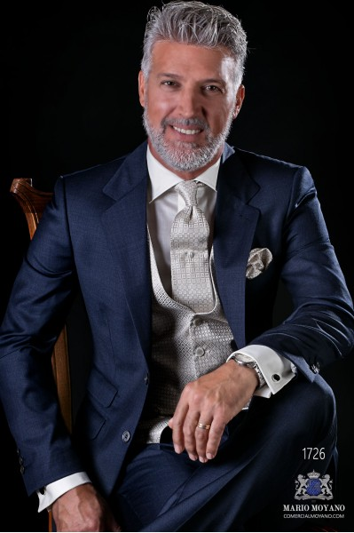 Costume homme italien bleu marine pur laine fil a fil