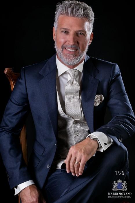 Italian bespoke suit navy blue pure wool fil a fil