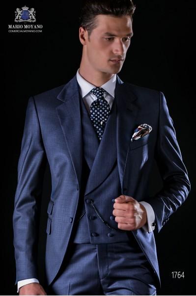 Costume homme italien bleu fil à fil de laine mélangé