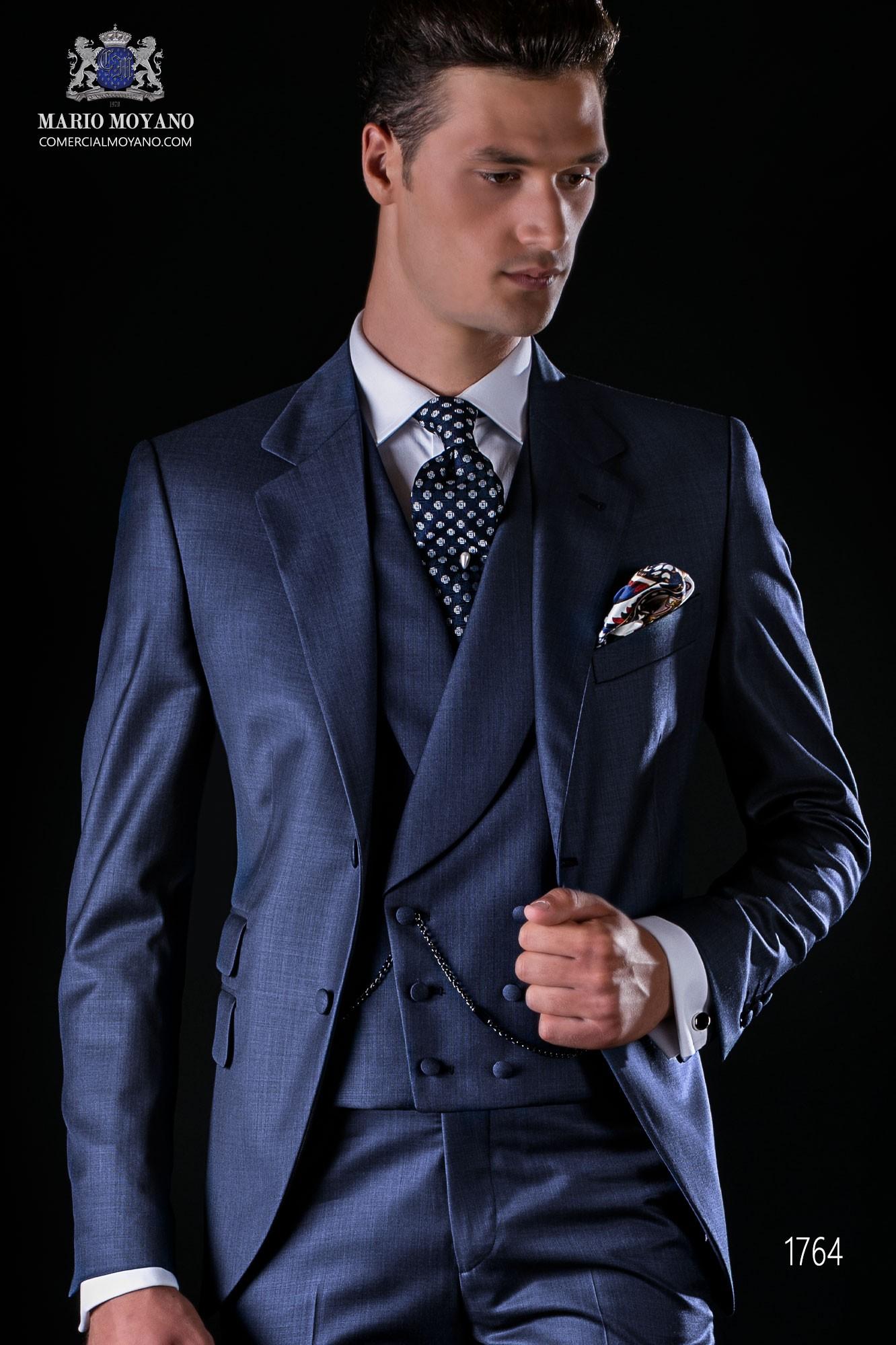 Italian bespoke suit blue fil a fil wool mix model 1764 Ottavio Nuccio Gala