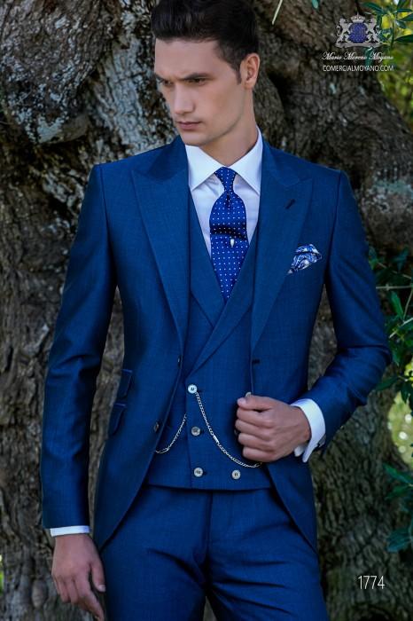 Bespoke royal blue mohair wool mix alpaca suit