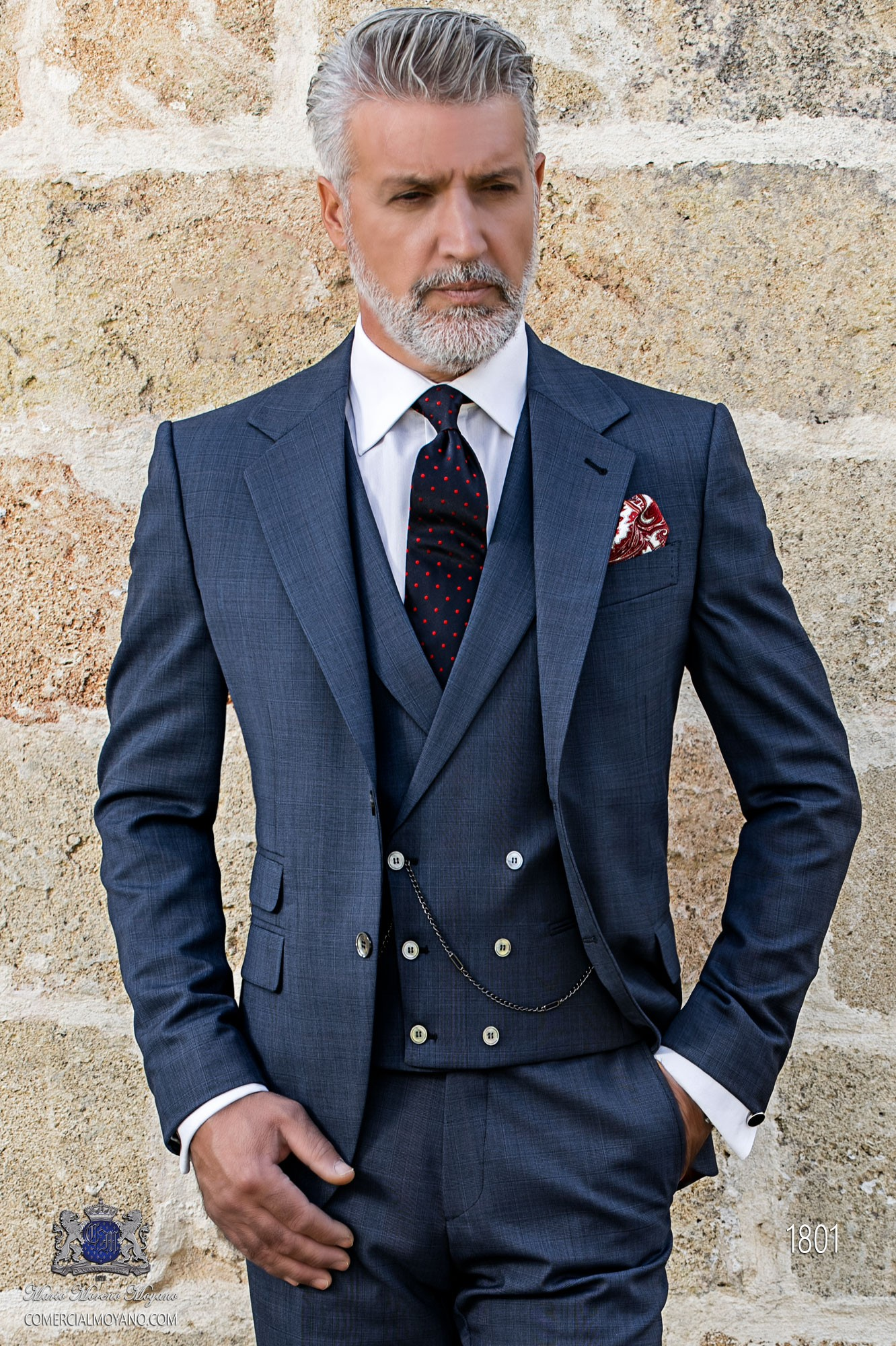 Bespoke Prince of Wales blue and red suit model 1801 Ottavio Nuccio Gala