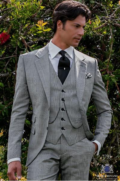Traje de novio príncipe de gales gris