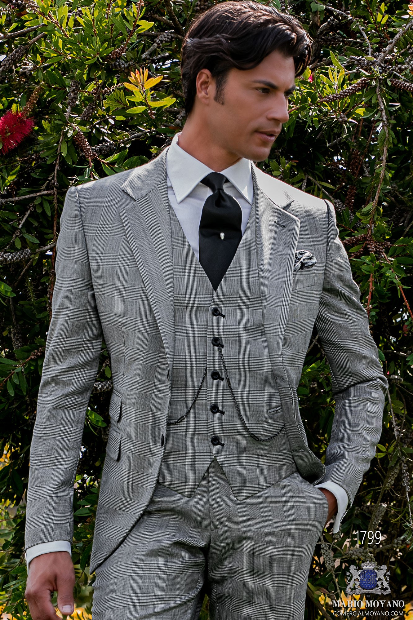 Bespoke Prince of Wales gray suit model 1799 Ottavio Nuccio Gala