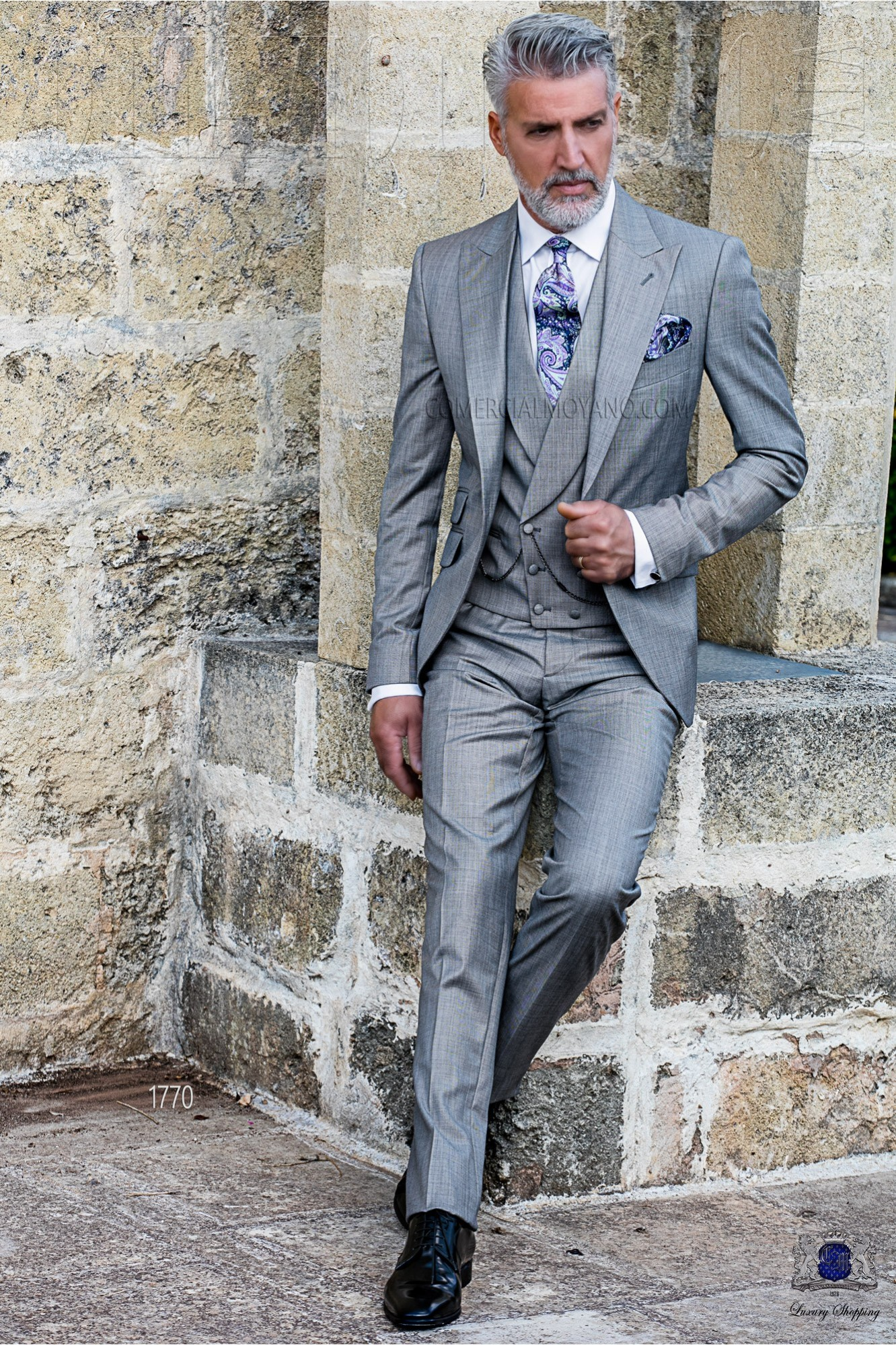 Italian bespoke light grey suit fil a fil wool mix