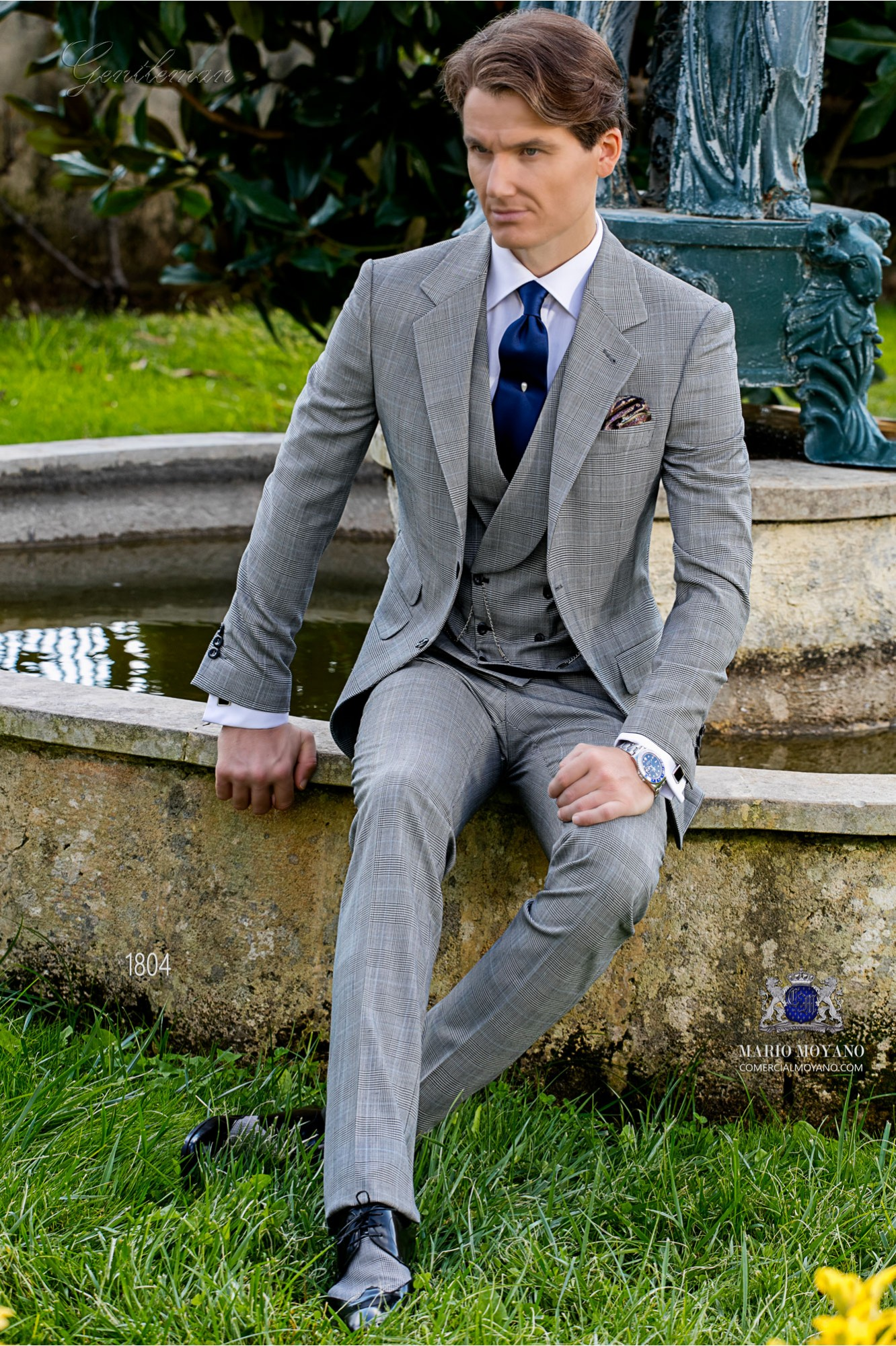 Bespoke Prince of Wales grey and blue suit model 1804 Ottavio Nuccio Gala