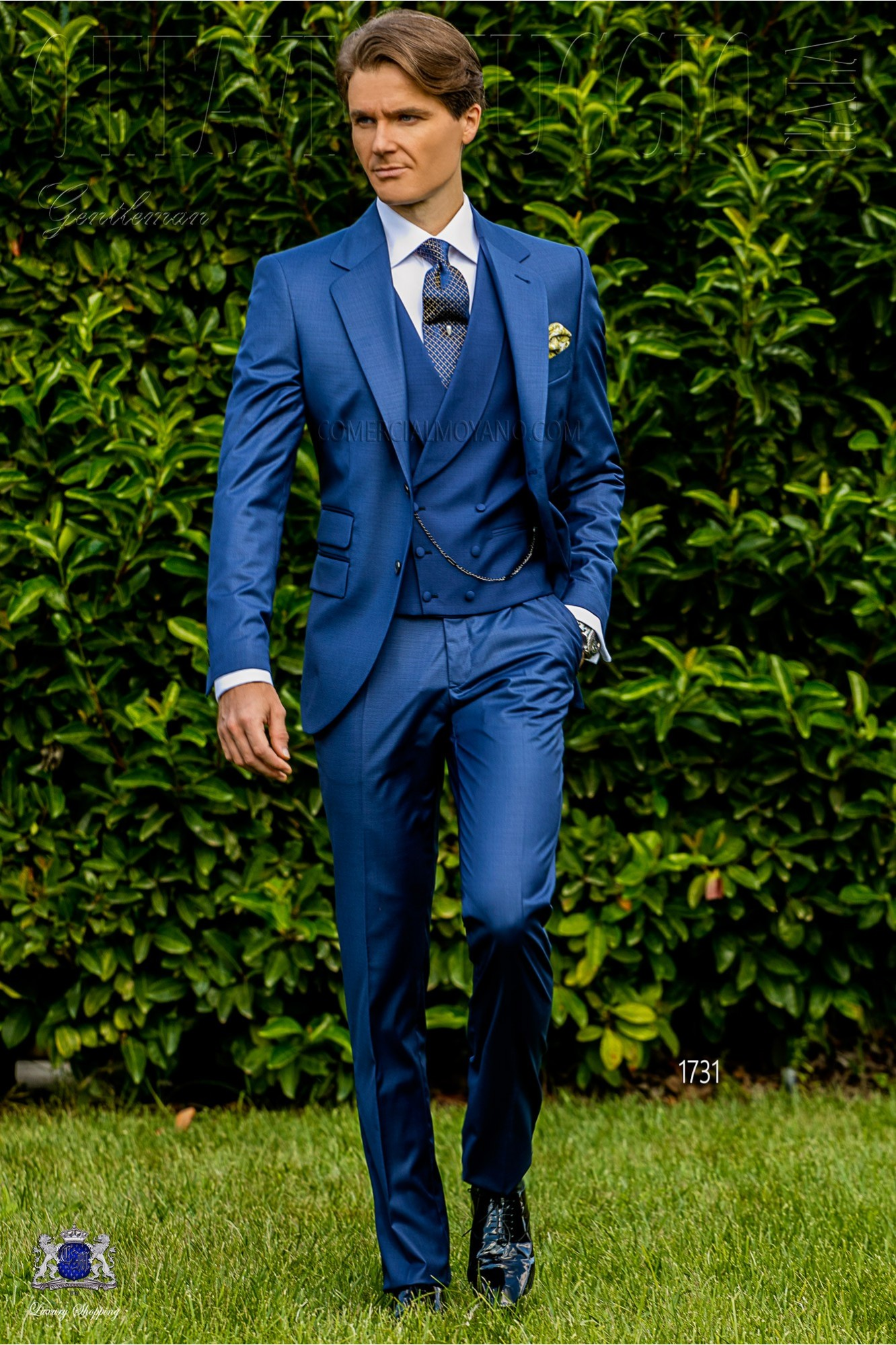 Italian bespoke royal blue cool wool mix suit model 1731 Ottavio Nuccio Gala