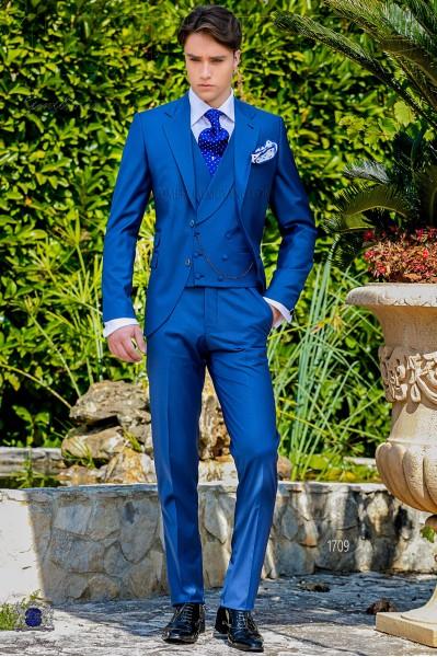 Costume homme italien bleu royal laine mélangé