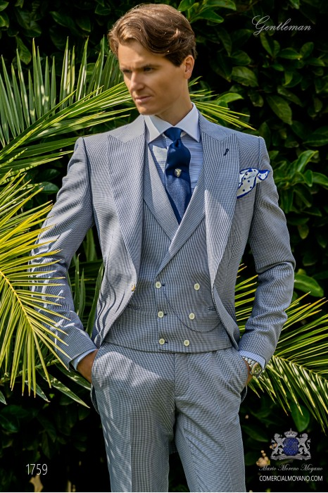 Bespoke Houndstooth morning suit royal blue