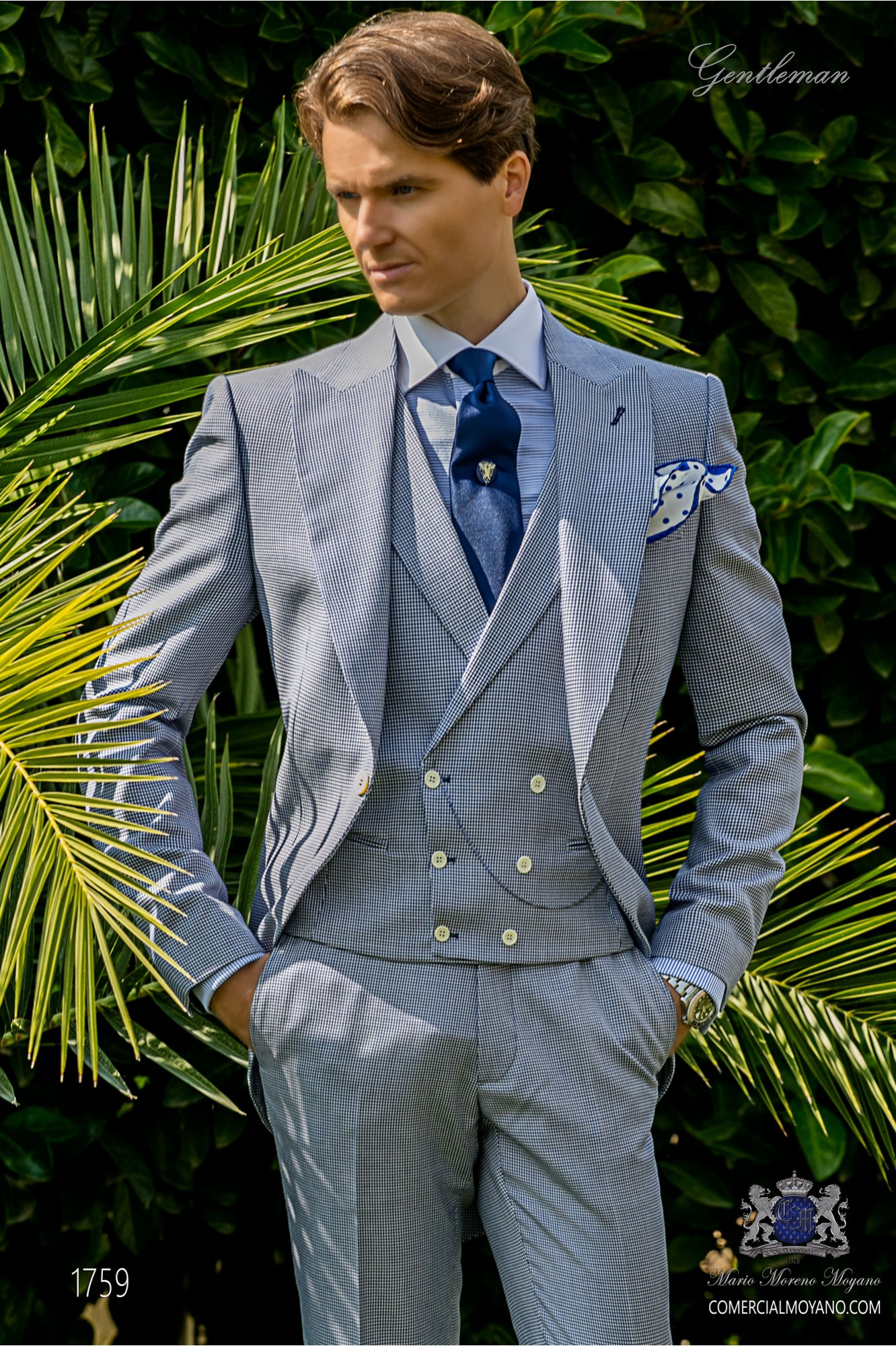 Bespoke Houndstooth morning suit royal blue model 1759 Ottavio Nuccio Gala