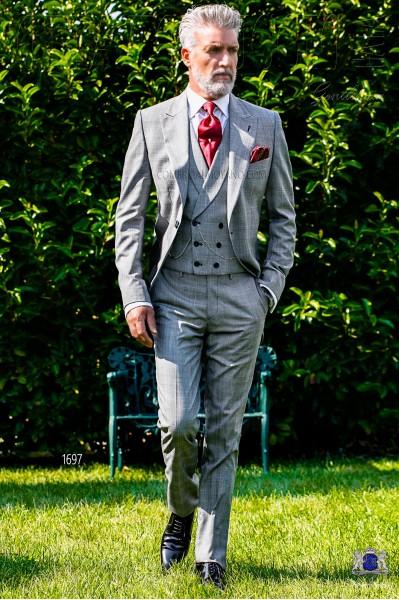 Chaqué de novio príncipe de gales gris y rojo