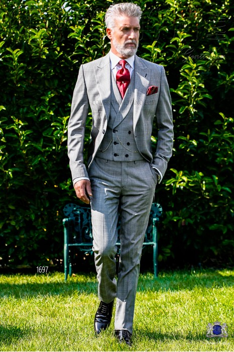Bespoke Prince of Wales morning suit grey/red