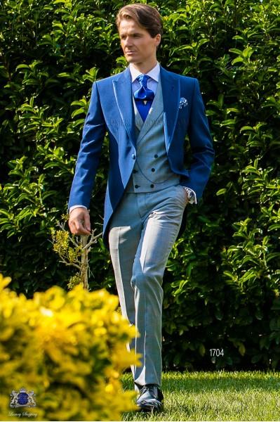 Traje de novio azul royal con pantalón príncipe de gales