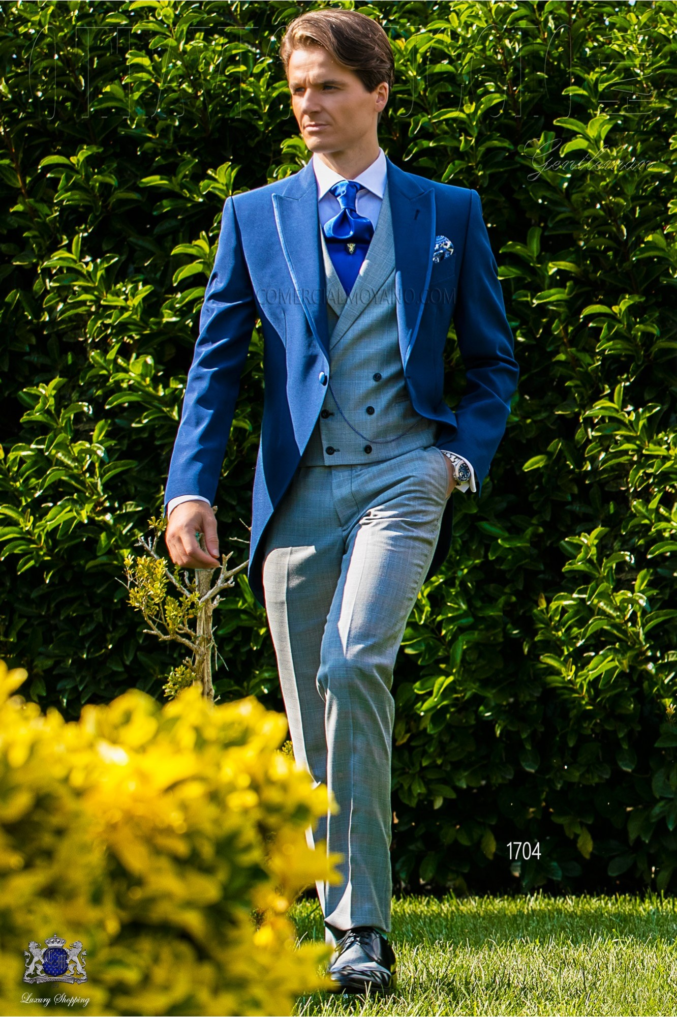 Royal blue morning suit with Prince of Wales trousers model 1704 Ottavio Nuccio Gala