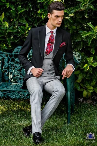 Chaqué de novio príncipe de gales gris claro y rojo