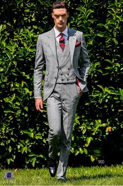 Traje de novio Príncipe de Gales gris y rojo