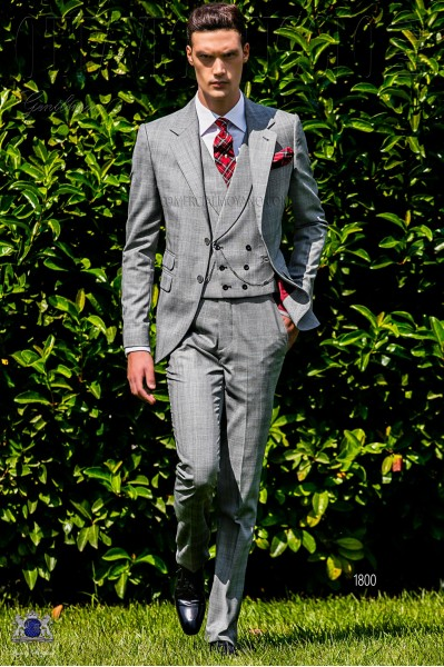 Bespoke Prince of Wales grey and red suit