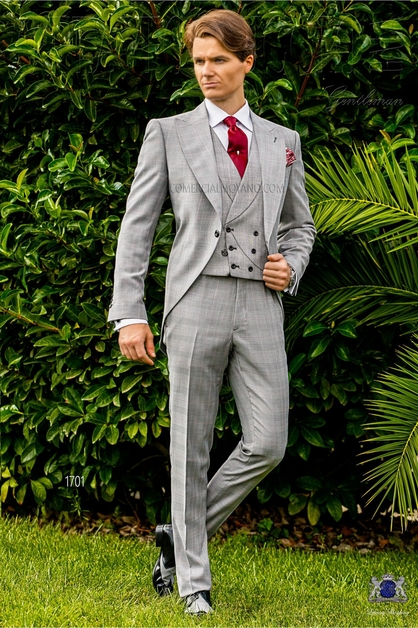 Prince of Wales morning suit light grey and red model 1701 Ottavio Nuccio Gala