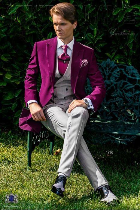 Burgundy morning suit with Prince of Wales trousers