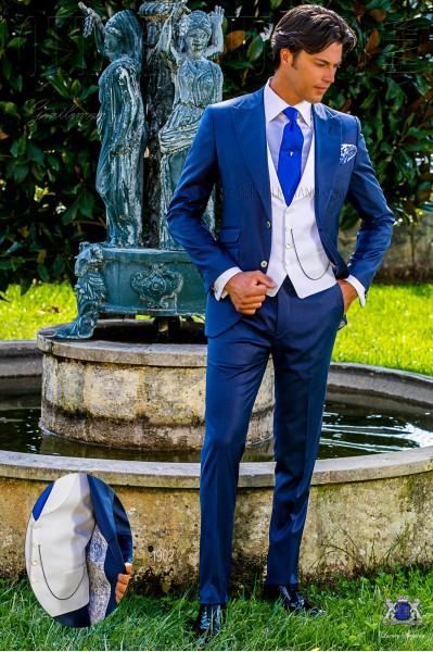 Costume de mariage bleu royal laine mélangé