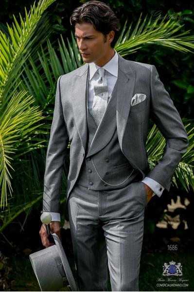Italian bespoke morning suit wool silk light grey fil-a-fil