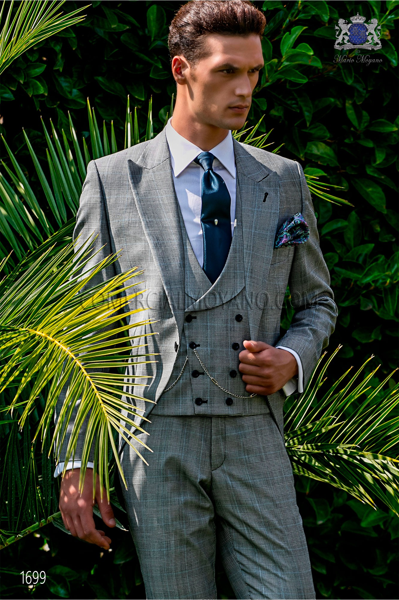 Bespoke Prince of Wales morning suit grey and blue model 1699 Ottavio Nuccio Gala